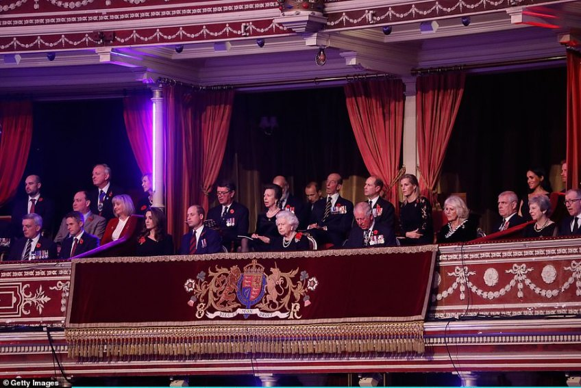 At the Albert Hall were, from left, the Duchess and Duke of Cambridge, Tim Laurence, Princess Anne, Prince Michael of Kent, the Queen, an unknown guest, the Duke of Kent, Prince Charles, Prince Edward and the Countess Of Wessex, the Duchess of Cornwall, Prince Andrew, and the Duchess and Duke of Sussex. In the next box are Theresa and Philip May