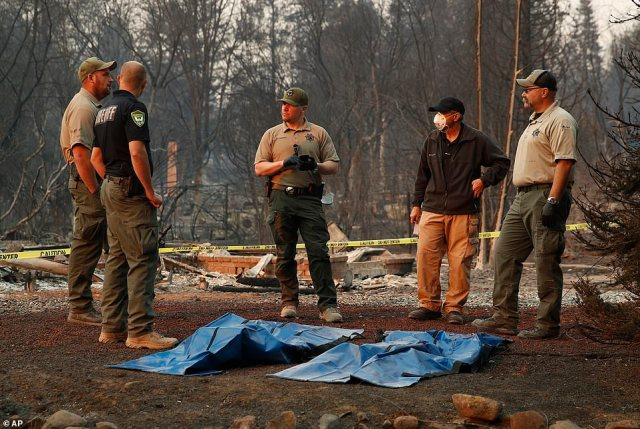 At least 29 people have died in the Camp wildfire, making it the joint-deadliest in California's history alongside theGriffith Park fire which struck Los Angeles in 1933 (pictured, bodies are located in the town of Paradise)