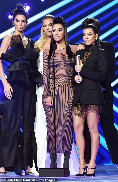 From the heart: During the People's Choice Awards on Sunday, Kim, Khloe, Kourtney, Kendall and Kris hit the stage to accept Reality Show Of 2018