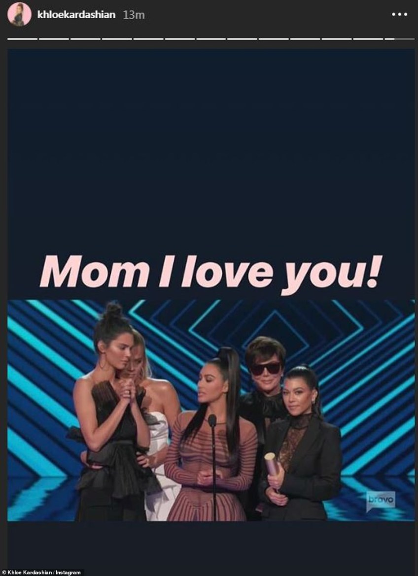 Funny: Khloe couldn't resist teasing mom Kris while at the awards show; the 63-year-old momager donned sunglasses while inside the venue - even appearing on stage to accept the award with them on