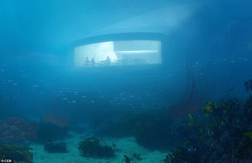 Called 'Under', the restaurant has been designed by the imaginative Snohetta agency and will be located at the southernmost point of the Norwegian coastline by the village of Baly. Guests will have a view of the seabed through a 36ft window