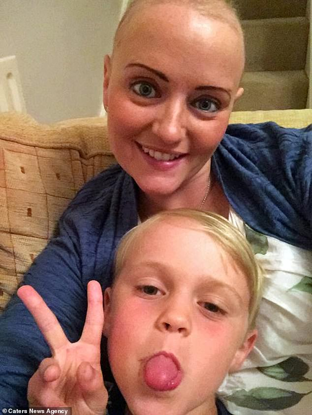 Pictured after undergoing chemotherapy, Ms Shaw claims the NHS has told her there is nothing they can do to treat her triple negative breast cancer given the fact it is terminal. But she is determined not to give up and wants to show Theo she fought hard to see him grow up