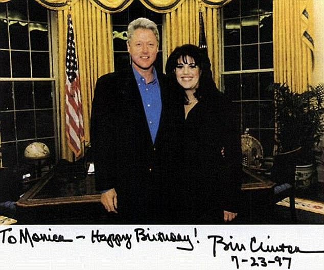 Gifts: She was called to the office with the promise of presents, and Clinton gifted her a hat pin and copy of Walt Whitman's Leave of Grass (Clinton and Lewinsky in 1997 just before their bathroom rendezvous)
