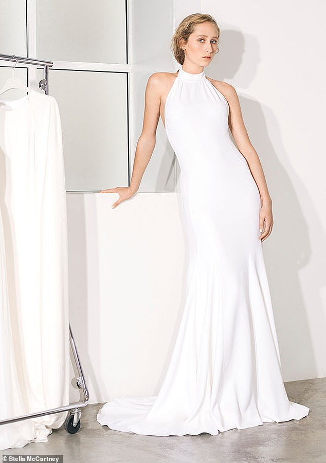 Stella McCartney has launched her first bridal collection, which includes a halterneck gown priced at £3,500 (above) that's similar in style to Meghan's evening reception dress created by the British designer