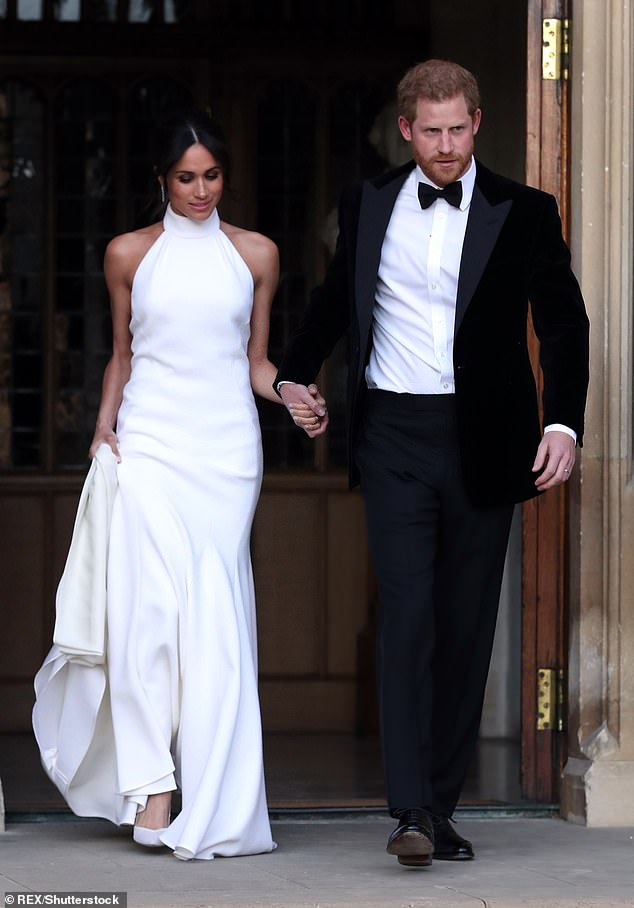 Stella, 47, designed the Duchess of Sussex's figure-hugging halterneck dress (above) which she wore to her evening reception at Frogmore House in May