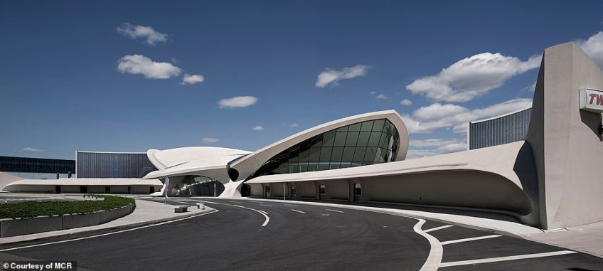 An estimated $265 million has been spent on the 512-room property housed with the space age TWA terminal, which was built in 1962 by business magnate Howard Hughes and has remained dormant since 2001. Above, a rendering of what the finished building will look like
