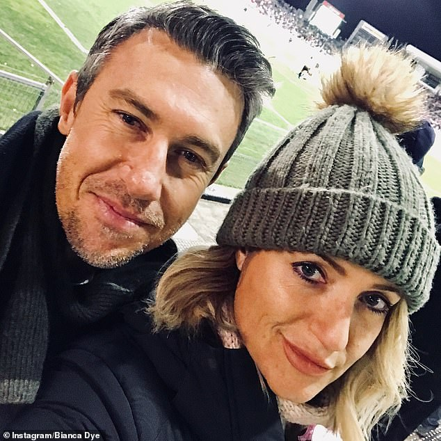 Bianca said she feels 'very lucky' to co-parent five-year-old Madison with her partner Jay Sandtner (pictured) after the pair met on a dating app