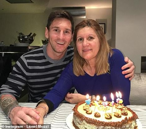 Messi with his mother, Celia