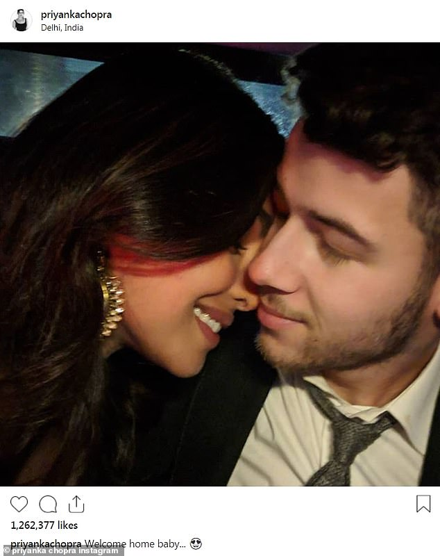 In love: A week before saying 'I do,' Priyanka Chopra took to Instagram to post a loved up photo with fiance Nick Jonas on Thursday