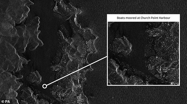 NovaSAR captured boats moored at Church Point Harbour in Australia. The spacecraft can take pictures of the Earth's surface in all weather conditions including heavy cloud, day or night