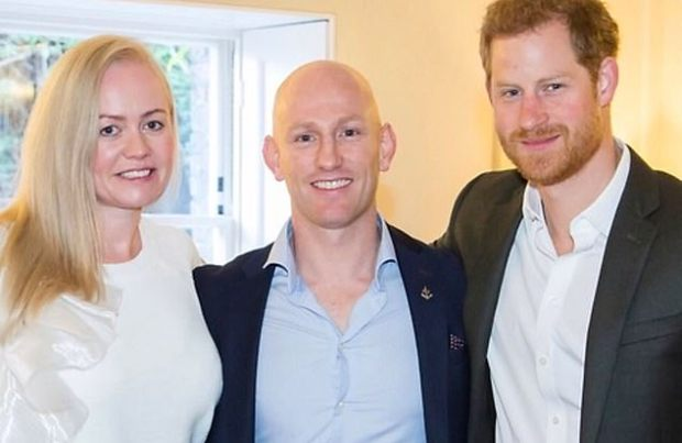 The Mrs Scotland World title has now been given to runner-up Alana Stott, left. Her husband Dean Stott, centre, with Prince Harry, right, has been accused of cheating on a charity cycle expedition, which he denies