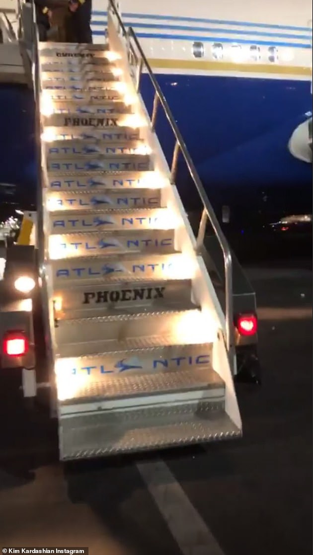 Welcome onboard: There was no scrum as the couple boarded the plane with their team. But the plane is believed to have been chartered through Aura Jets or serviced by Atlantic Aviation Company