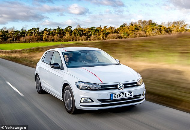 No seatbelt-fault solution: It has been revealed that VW models - including the Polo pictured - recalled for a seatbelt issue were temporarily fixed with plastic cable tie - though they still didn't prevent belts from unbuckling themselves