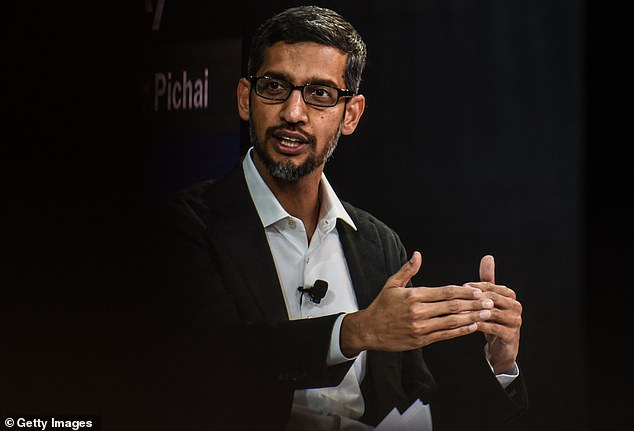 Google CEO Sundar Pichai, pictured here, defended his vision for the move by saying Google is 'compelled by our mission [to] provide information to everyone, and [China is] 20 percent of the world's population' (file photo)