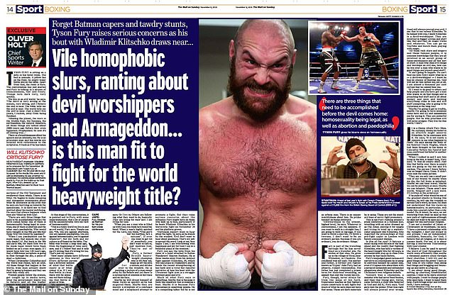 The interview with the Mail on Sunday sparked indignation weeks before the fight in Germany