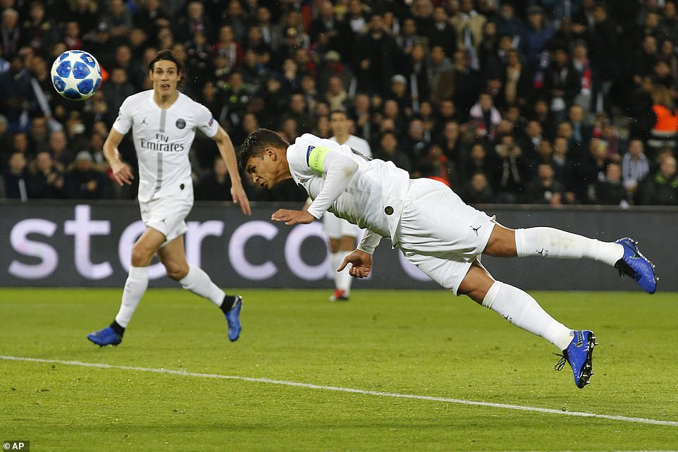 PSG captain Thiago Silva tests fellow countryman Alisson with a close-range header but the Brazil goalkeeper stands firm