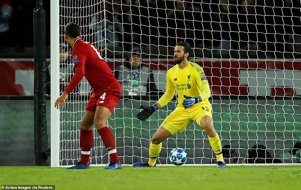 Liverpool custodian Alisson can only stand and stare after Bernat's early effort flies into the bottom corner of his goal