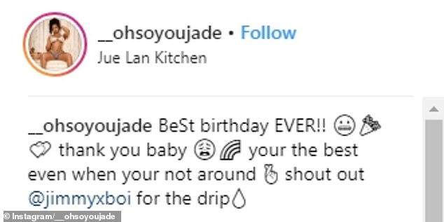 Thanks:Thanking her beau, who is facing a 25 years to life prison sentence for the gift, Jade posted a photo of herself with it, saying, 'Thank you baby :) your the best even when your not around.'(sic)