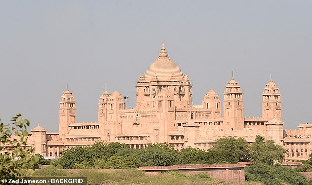 The location of the wedding: Wedding preparations begin at the Umaid Bhawan Palace for Nick and Priyanka in Jodhpur. Boxed up fireworks are seen in front of the Umaid Bhawan Palace as trucks are brought in from Mumbai