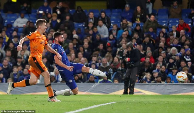 The Chelsea forward doubled his tally for the evening 10 minutes after the opener with a thumping finish