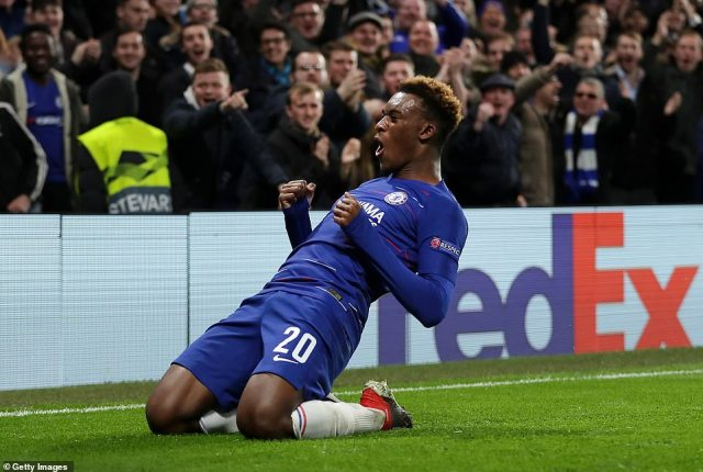 Callum Hudson-Odoi beams from ear to ear as he celebrates his first Chelsea goal and their third of the evening