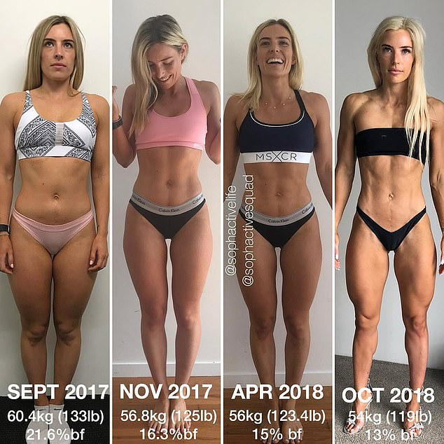 Fitness star Sophie Allen (pictured from left to right) has revealed what a difference a year can make in terms of a physical transformation