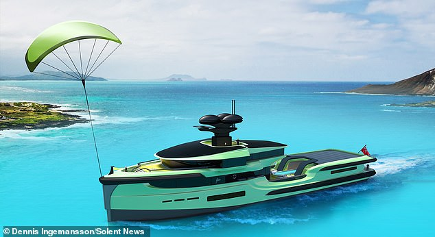 The £80million Green Expedition has a skysail and more than 200 square metres of solar panels. The skysail, seen deployed,is a kite-like rig capable of propelling the ship