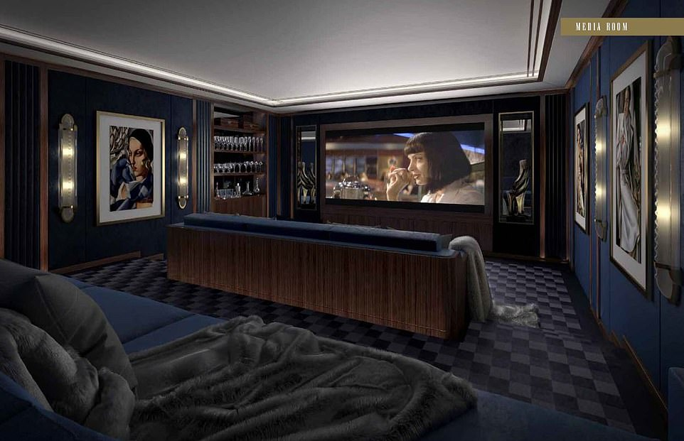 The media room (pictured) is also in the basement, next to the pool, and the room has a whiskey bar built in to the left side wall