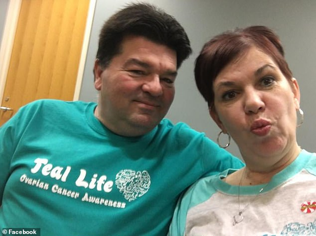 Mrs. Herfel (pictured with her husband Jim Herfel at a monthly hospital appointment in March 2017) was sent home with painkillers when she went to her doctor with abdominal pain. She was diagnosed with cancer only when Sierra sniffed her belly and then crawled into a ball
