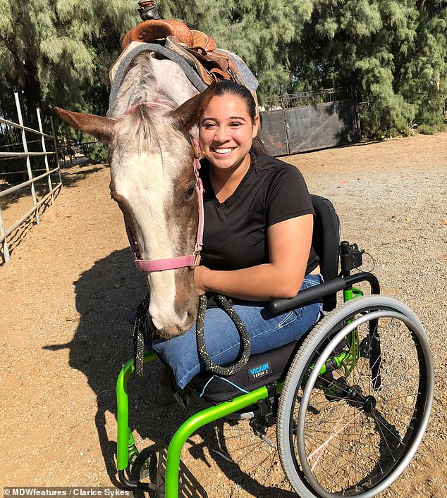 No fear: The horrific accident has not made Ms Sykes fear horses and is determined to get back in the saddle as soon as she can