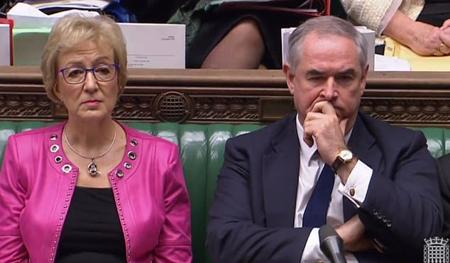 Attorney General Geoffrey Cox (pictured in the Commons with Leader of the House Andrea Leadsom today) is facing the threat of suspension after refusing to disclose legal advice