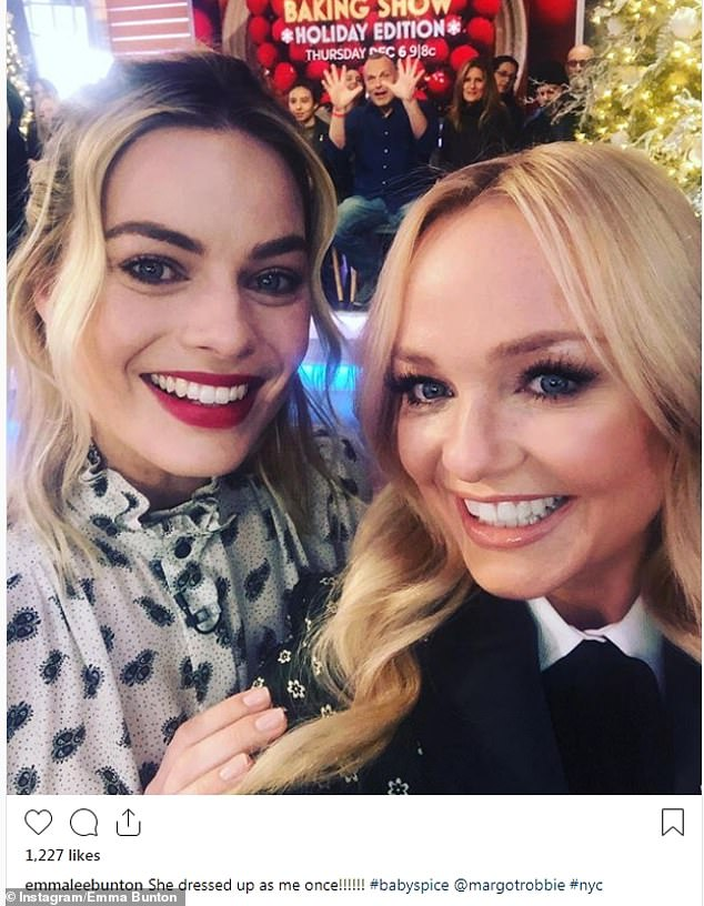Fan girling: Emma Bunton, who was also appearing on GMA, posed for a fun selfie with the star