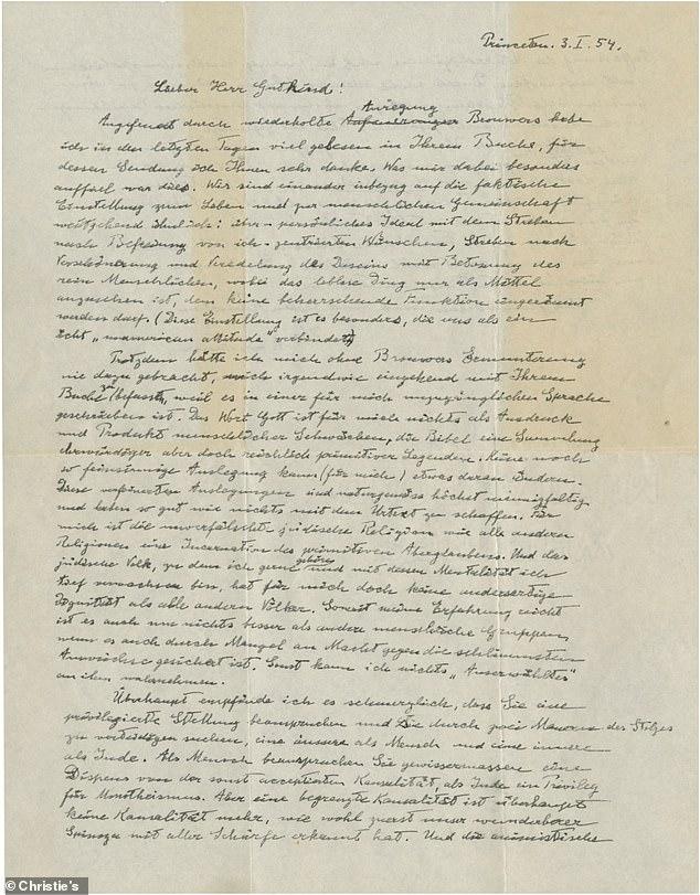 In the letter written in German, Einstein called religion in general, and in particular Judaism,