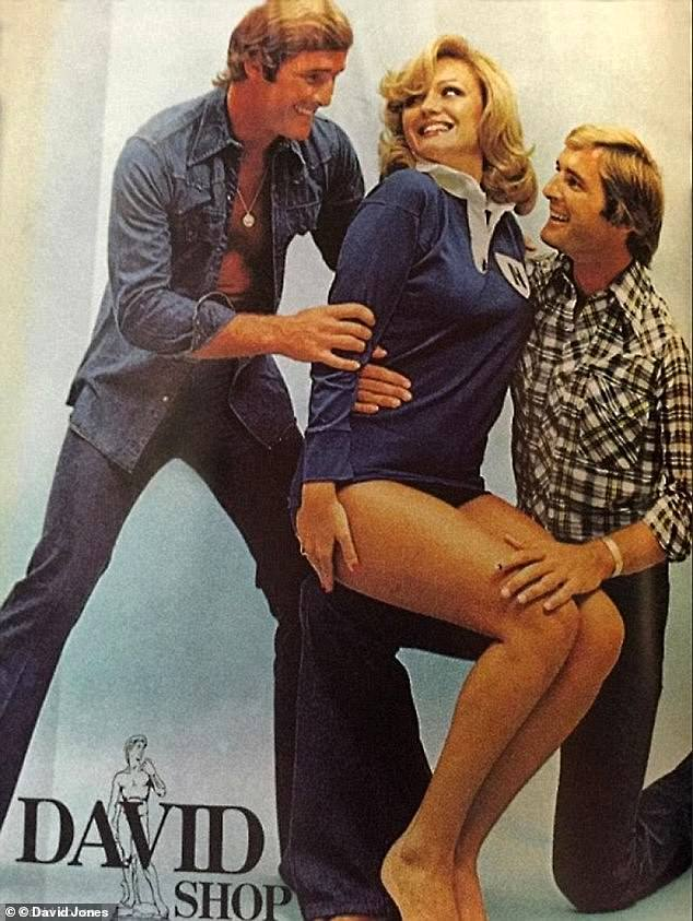 Chris and Paul Dawson, pictured with a model in a David Jones newspaper advertisement have been exceptionally close all their lives. They both played rugby league for the Newtown Jets