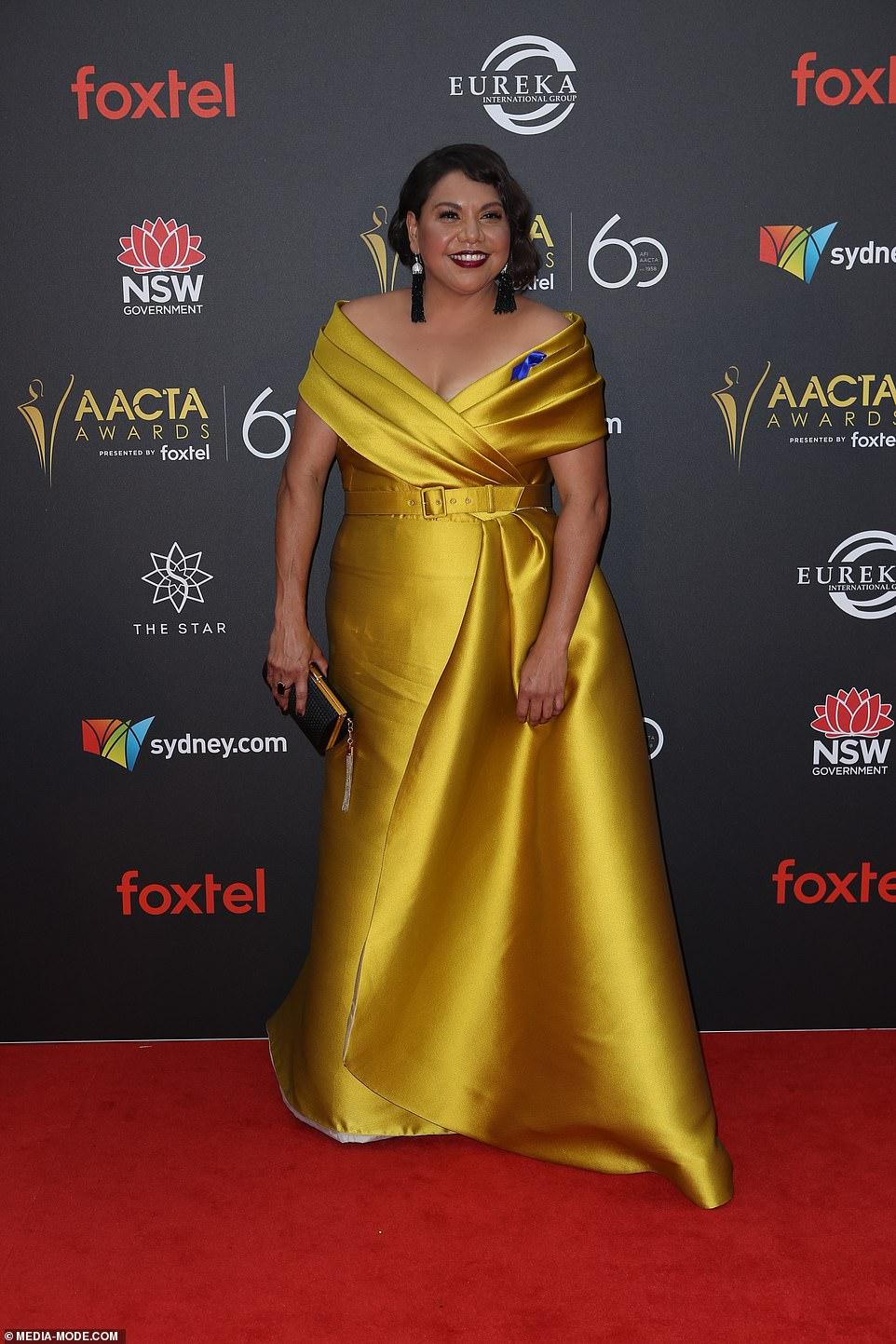 Golden girl!Deborah Mailman, 46, was the ultimate golden girl in a dazzling off-the-shoulder frock