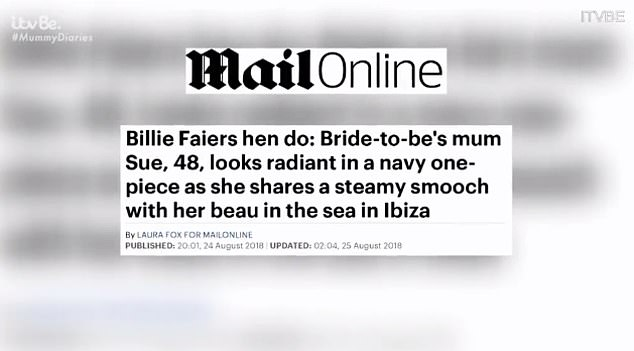 Making the news: But the headlines didn't stop there for Sue as she made the MailOnline again