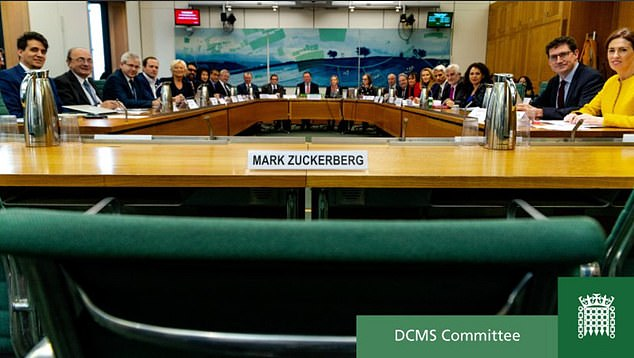 Mr Zuckerberg was 'empty chaired' by the grand committee last week after sent executive Richard Allan for the grilling instead