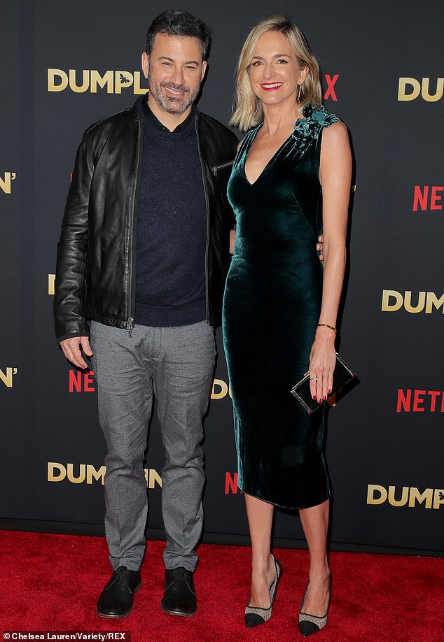 Happy together: Jimmy Kimmel and wife Molly McNearney enjoyed date night on the red carpet