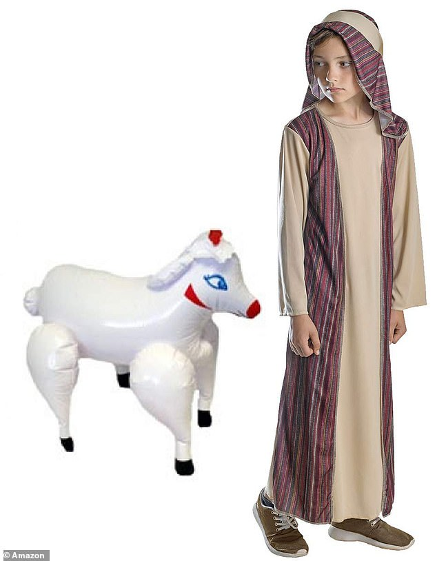 The product was listed as 'Labreeze kids boys brown shepherd costume inflatable sheep nativity fancy dress outfit' - including a picture of the inflatable sheep