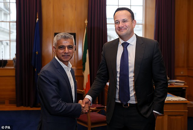 The Irish Government led by Leo Varadkar (right with London Mayor Sadiq Khan yesterday) said the deal would not be reopened