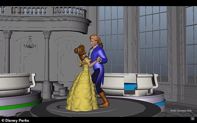 In what will likely be a highlight of the ride, its creators say they'll let visitors dance along with the animatronic characters Belle and Prince Adam as they waltz in the iconic ballroom