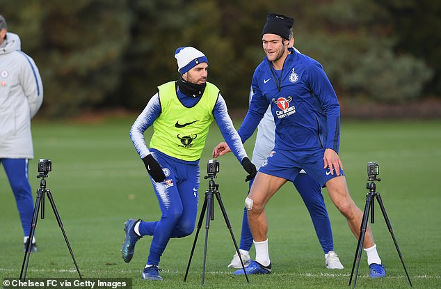 Midfielder Cesc Fabregas and defender Marcos Alonso were put through their paces