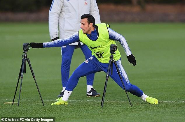 Winger Pedro is focused on Chelsea's training session