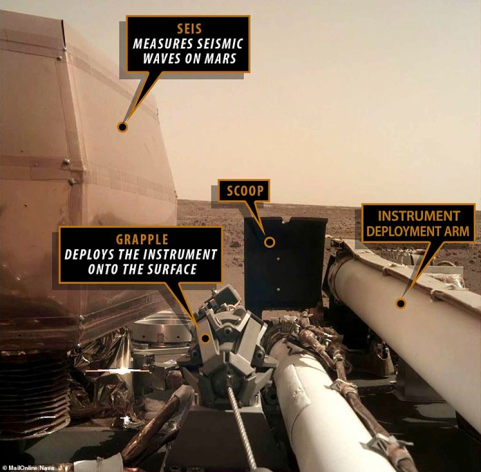 This image shows some of the instruments visible in the selfie image sent back by InSight on the last Tuesday morning