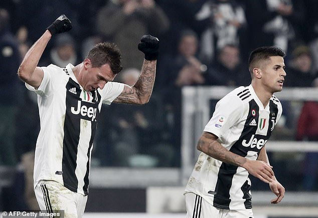Mario Mandzukic (left) scored the winner against Inter after an assist by Joao Cancelo