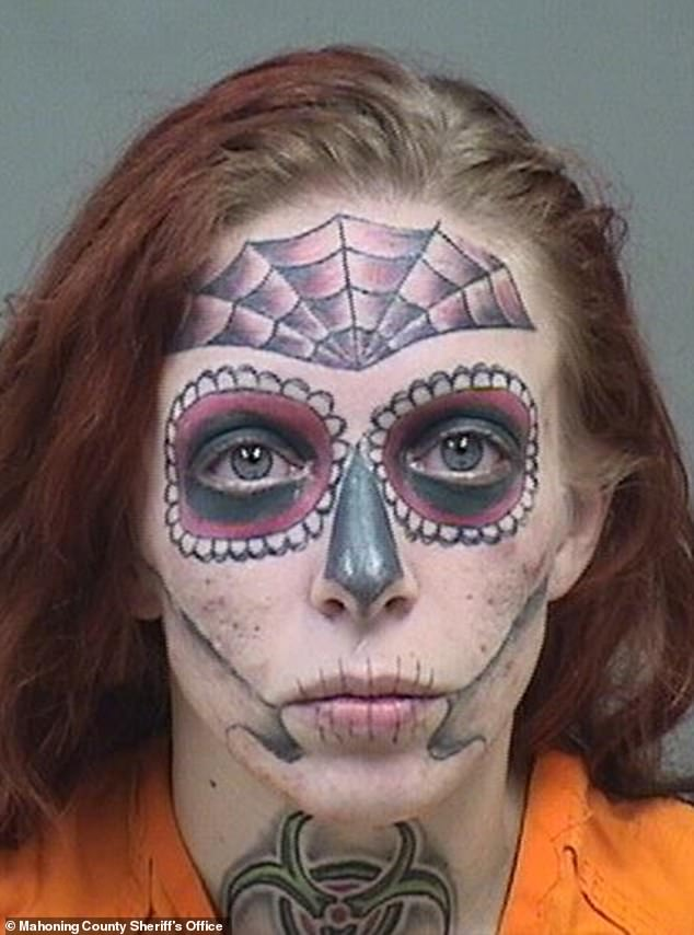 Face Skull Tattoo : skull, tattoo, Woman, Full-face, Skull, Tattoo, Busted, Shoplifting,, Drugs, Daily, Online