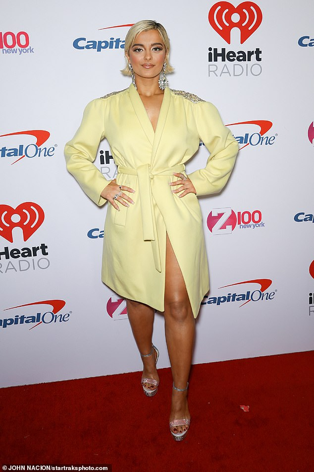 Leggy:It was the second look the star rocked after sporting a pastel yellow shirt dress, with a thigh-split on the red carpet
