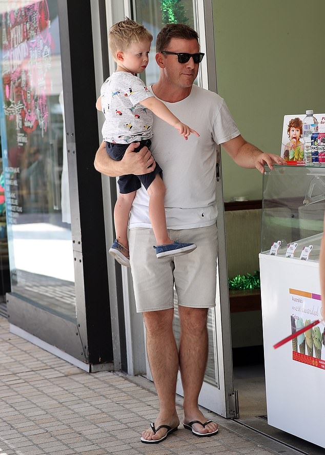 Family time for dad:Ben's focus instead was on his son, Freddie, as the pair shopped for the tot's birthday party