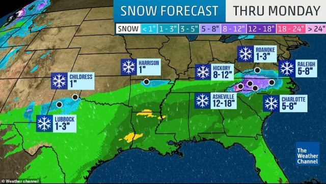 A severe weather system dubbed Winter Storm Diego is sweeping across a wide area of the US,threatening heavy rains in states along the southern coast and a widespread mess of snow, sleet and freezing rain further inland through the weekend