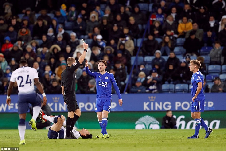 Marc Albrighton was showed a yellow card by referee Craig Pawson for a clumsy challenge on the goal-scorer